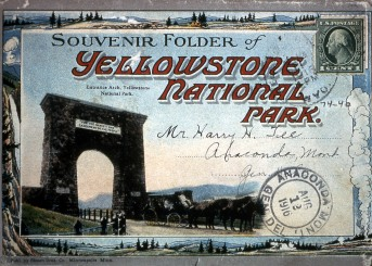 Souvenir Folder (postcard) of Yellowstone National Park; Sent August 12, 1916